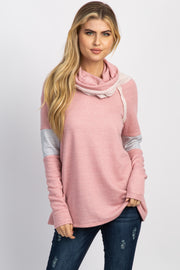 Pink Cowl Neck Striped Accent Terry Top