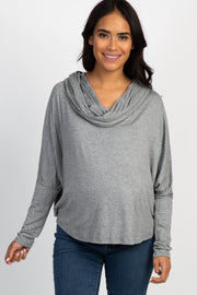 Grey Dolman Sleeve Cowl Neck Maternity Top