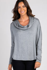 Grey Dolman Sleeve Cowl Neck Top