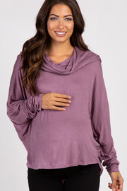 Mauve Dolman Sleeve Cowl Neck Maternity Top