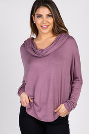 Mauve Dolman Sleeve Cowl Neck Top
