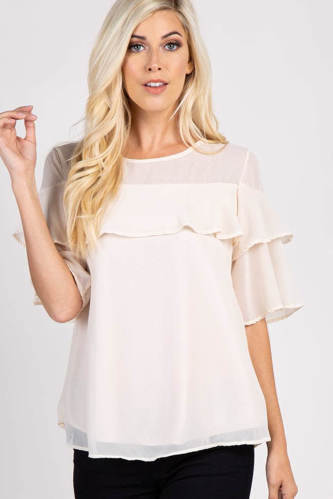 Beige Mesh Accent Ruffle Trim Short Sleeve Top
