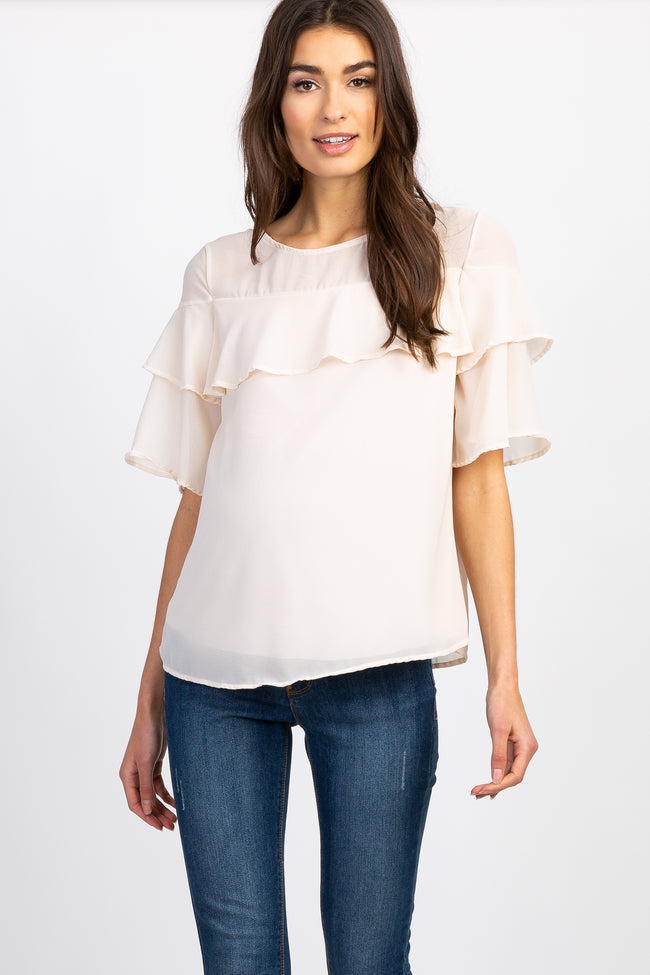 Beige Mesh Accent Ruffle Trim Short Sleeve Maternity Top