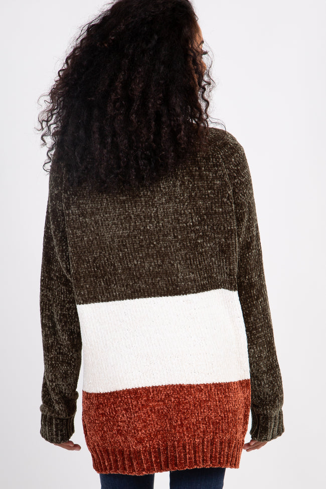 Olive Colorblock Chenille Knit Long Sleeve Sweater