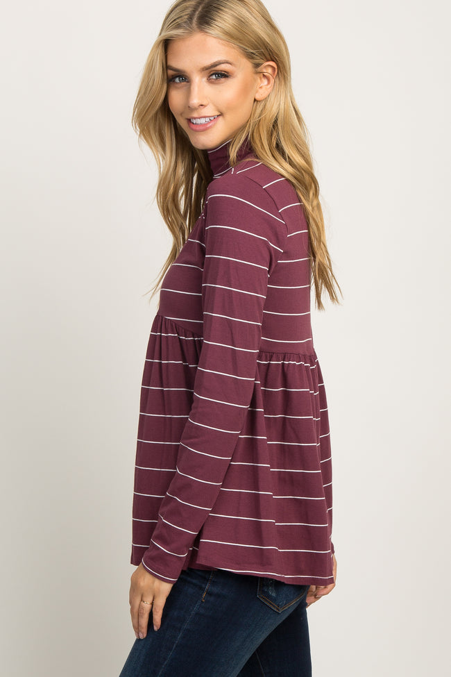 Burgundy Striped High Neck Top