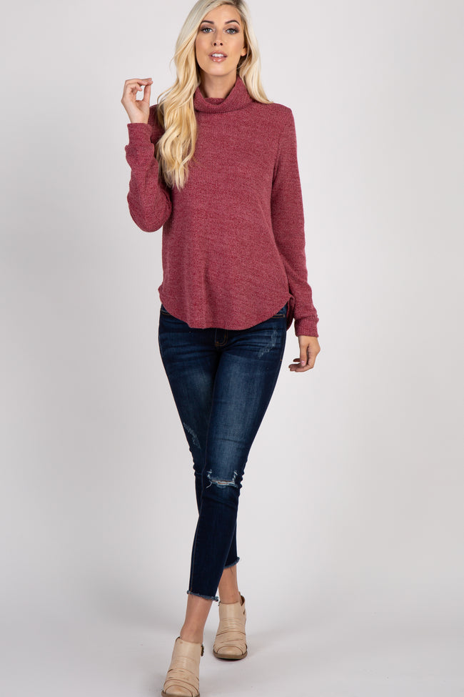 Red Cowl Neck Top