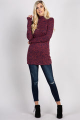 Red Heathered Long Sleeve Mock Neck Top