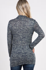 Grey Heathered Long Sleeve Mock Neck Maternity Top