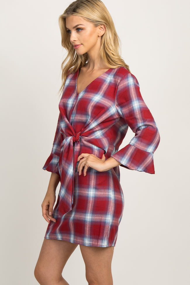 Burgundy Plaid Tie Front Ruffle Dress