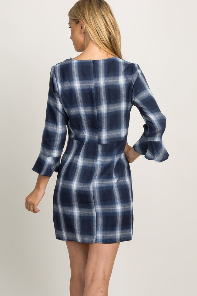 Navy Plaid Tie Front Ruffle Dress