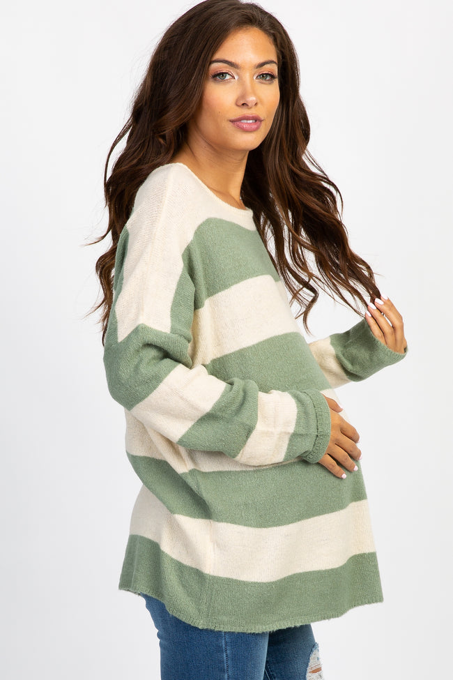 Light Olive Colorblock Long Sleeve Maternity Sweater