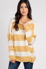 Yellow Colorblock Long Sleeve Sweater