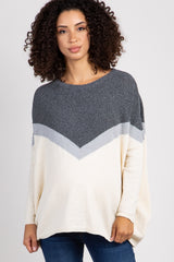 Charcoal Grey Blocked Knit Dolman Maternity Sweater