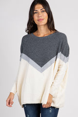 Charcoal Grey Colorblock Knit Dolman Sweater