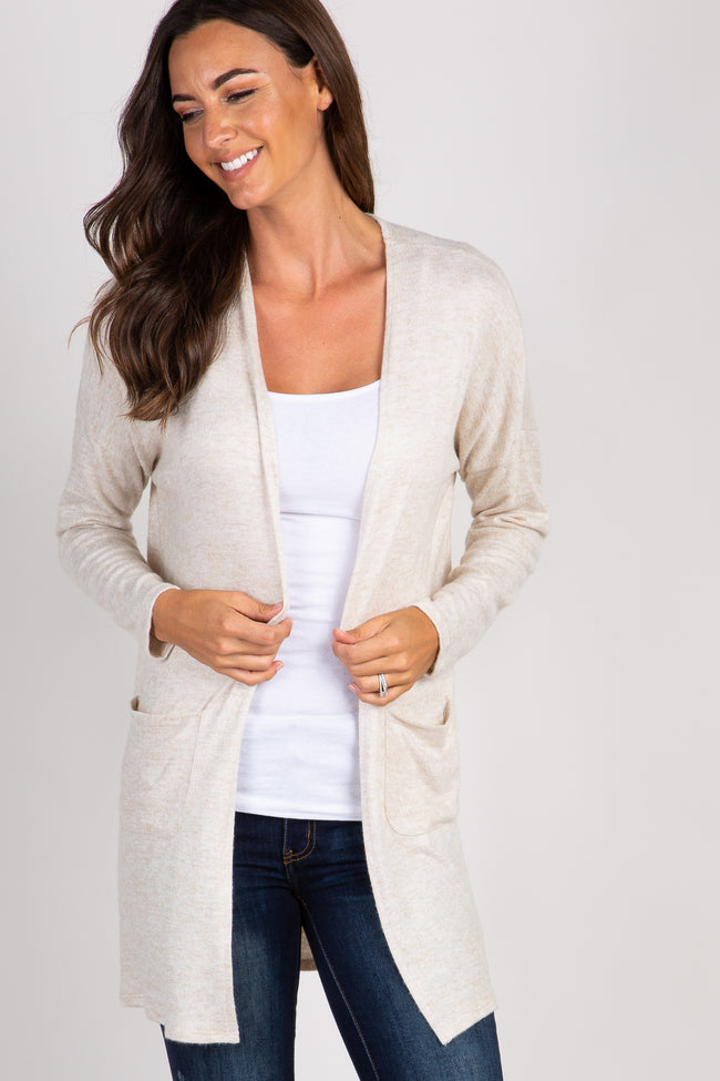 Beige Soft Knit Pocket Front Cardigan