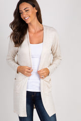 Beige Soft Knit Pocket Front Maternity Cardigan