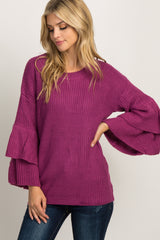 Magenta Double Ruffle Sleeve Knit Sweater
