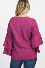 Magenta Double Ruffle Sleeve Maternity Knit Sweater