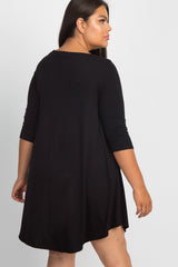 Black Solid Caged Plus Swing Dress