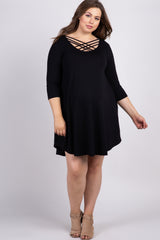 Black Solid Caged Plus Maternity Swing Dress