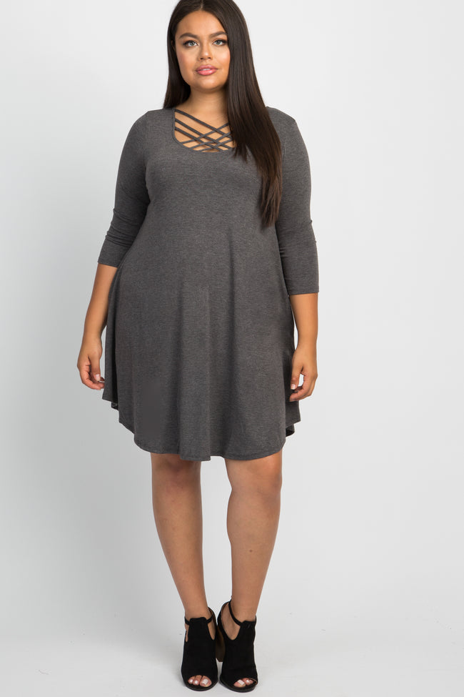 Charcoal Caged Plus Maternity Swing Dress