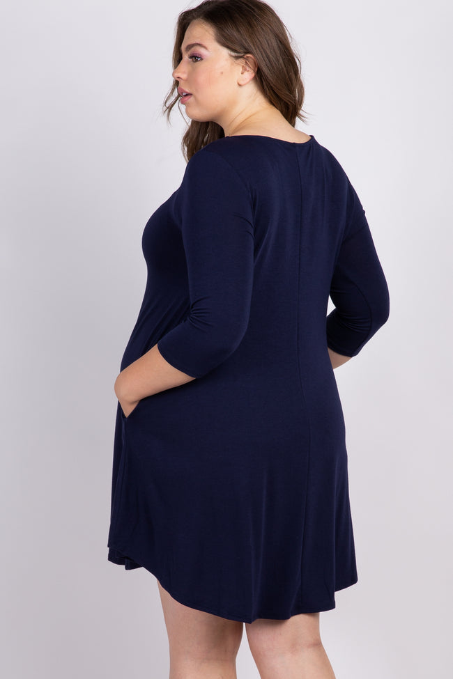 Navy Blue Solid Caged Plus Maternity Swing Dress