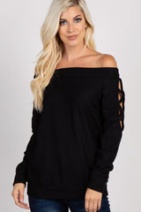 Black Off Shoulder Cutout Knit Top