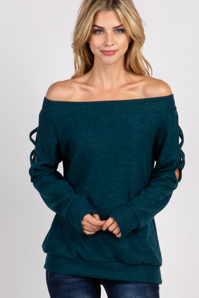 Forest Green Off Shoulder Cutout Knit Top