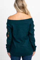 Forest Green Off Shoulder Cutout Knit Maternity Top