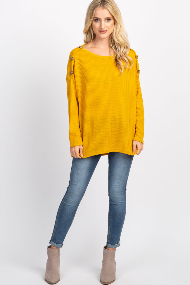 Mustard Button Shoulder Waffle Knit Maternity Top