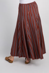 Rust Striped Maxi Skirt