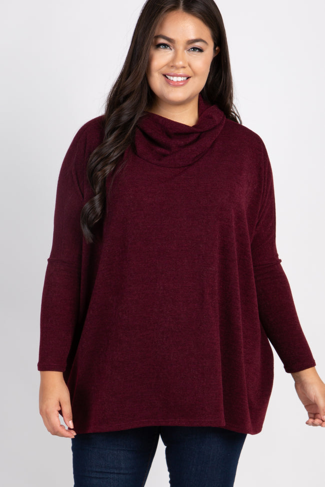 Burgundy Cowl Neck Dolman Sleeve Plus Top