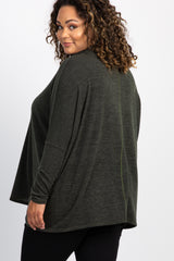 Olive Cowl Neck Dolman Sleeve Plus Maternity Top