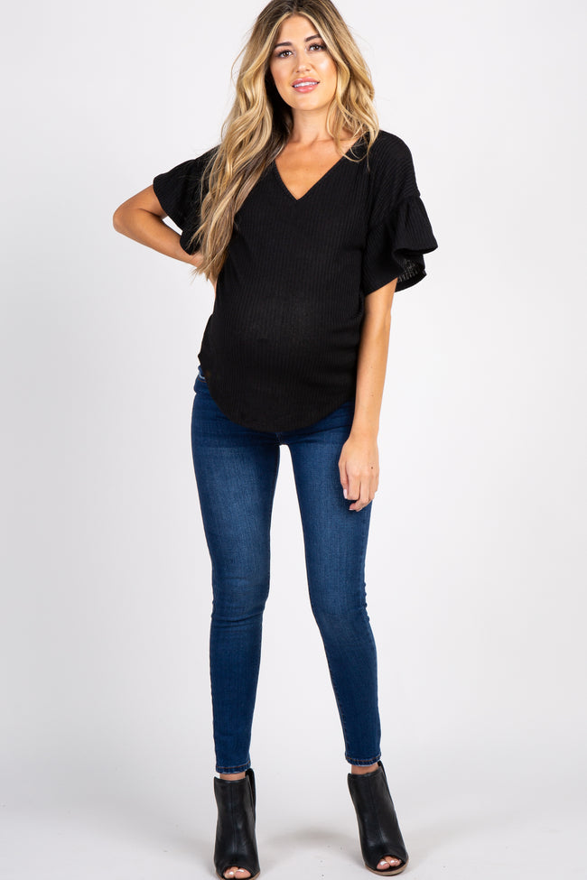 Black Ribbed Ruffle Sleeve Back Tie Maternity Top