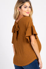 Camel Ribbed Ruffle Sleeve Back Tie Maternity Top