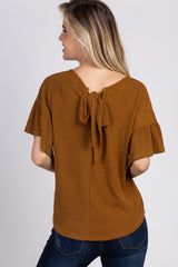 Camel Ribbed Ruffle Sleeve Back Tie Top