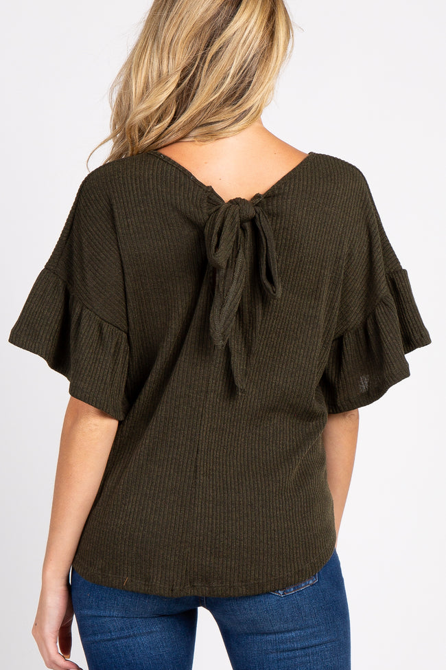 Olive Ribbed Ruffle Sleeve Back Tie Maternity Top