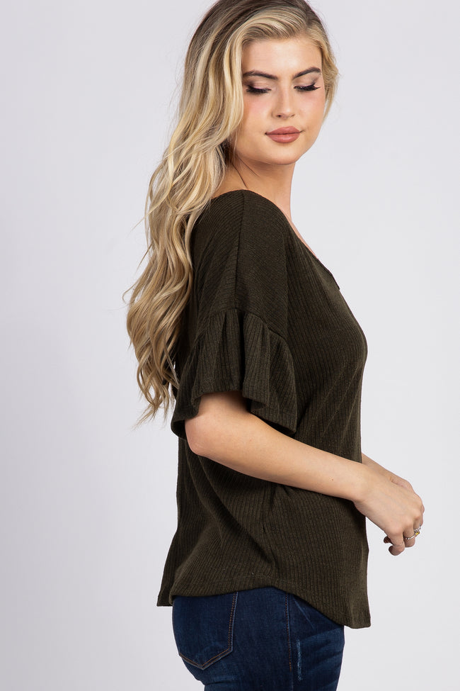 Olive Ribbed Ruffle Sleeve Back Tie Top