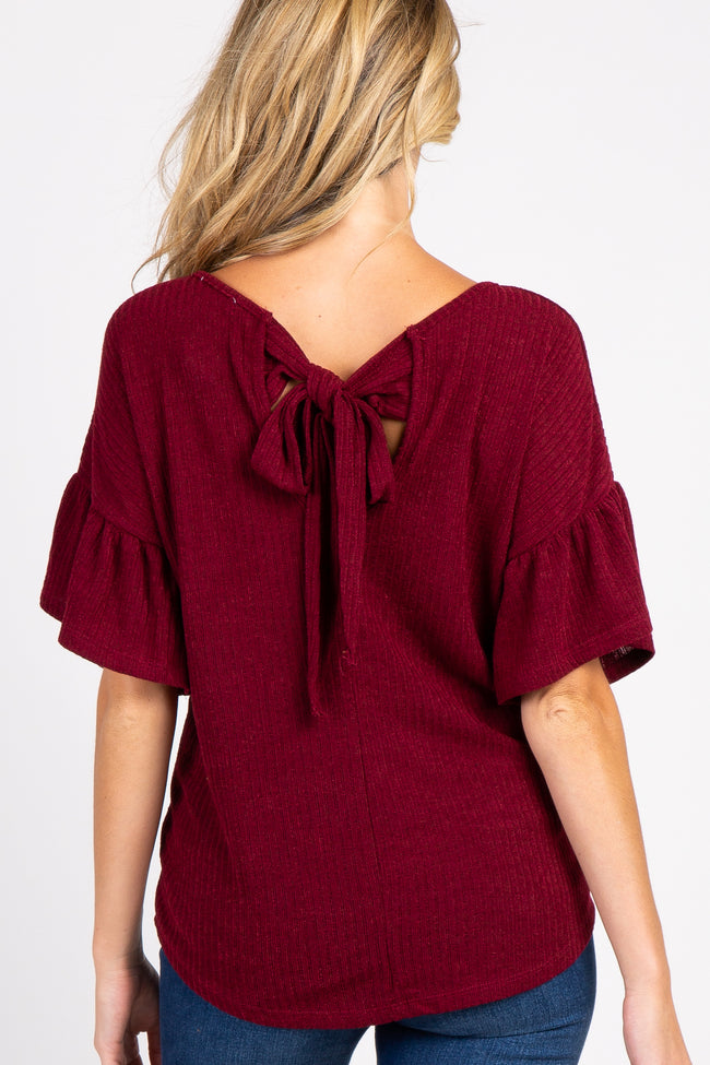 Burgundy Ribbed Ruffle Sleeve Back Tie Maternity Top