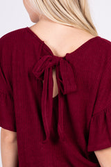 Burgundy Ribbed Ruffle Sleeve Back Tie Top