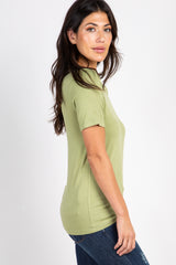 Green Solid Short Sleeve Maternity Top
