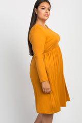 Mustard Solid Long Sleeve Plus Dress