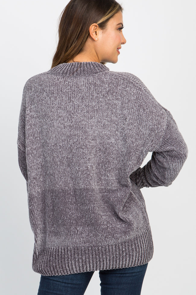 Charcoal Ribbed Chenille Knit Sweater
