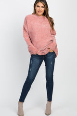 Pink Ribbed Chenille Knit Sweater