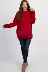 Red Ribbed Chenille Knit Maternity Sweater
