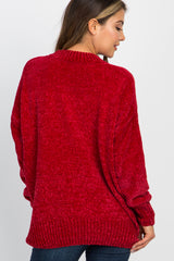 Red Ribbed Chenille Knit Sweater
