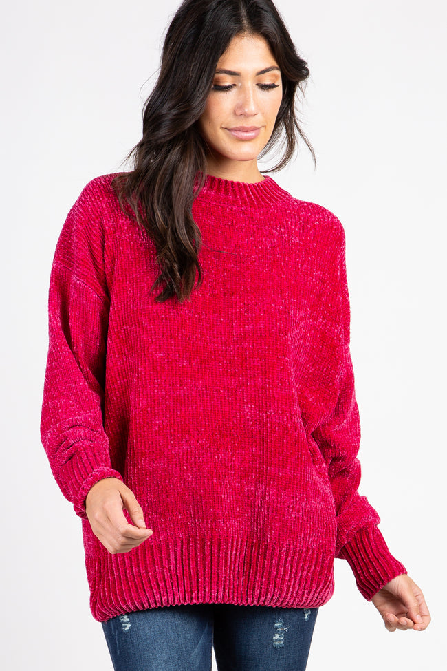 Magenta Mock Neck Chenille Knit Maternity Sweater