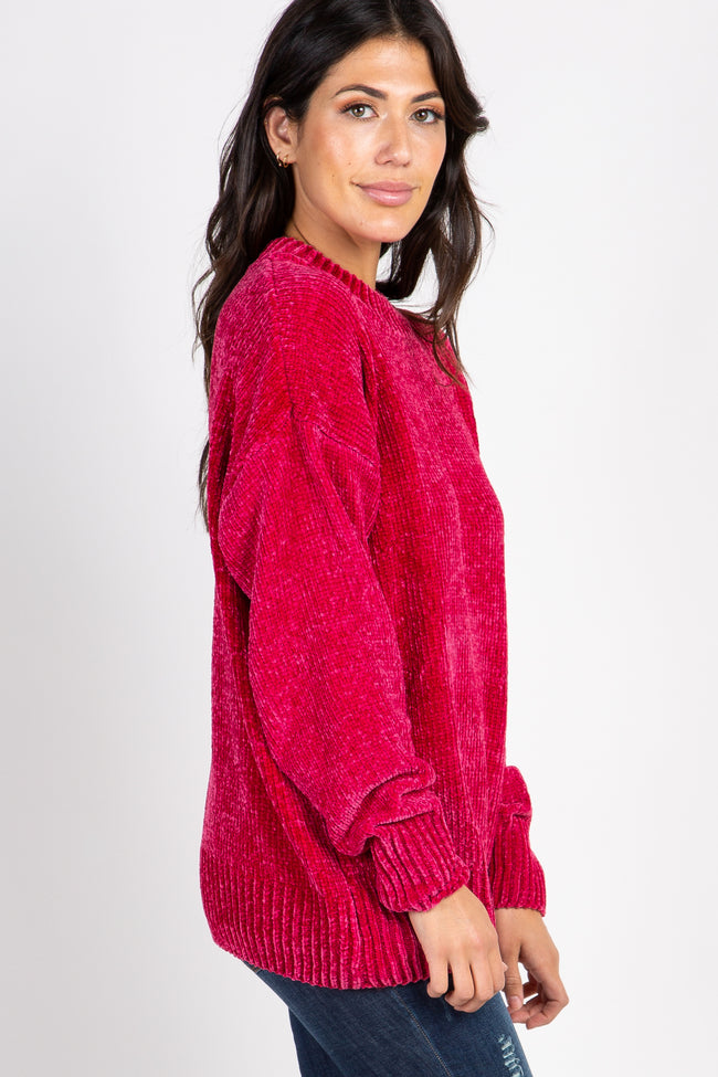 Magenta Ribbed Chenille Knit Sweater
