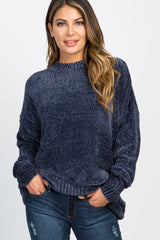 Navy Ribbed Chenille Knit Sweater