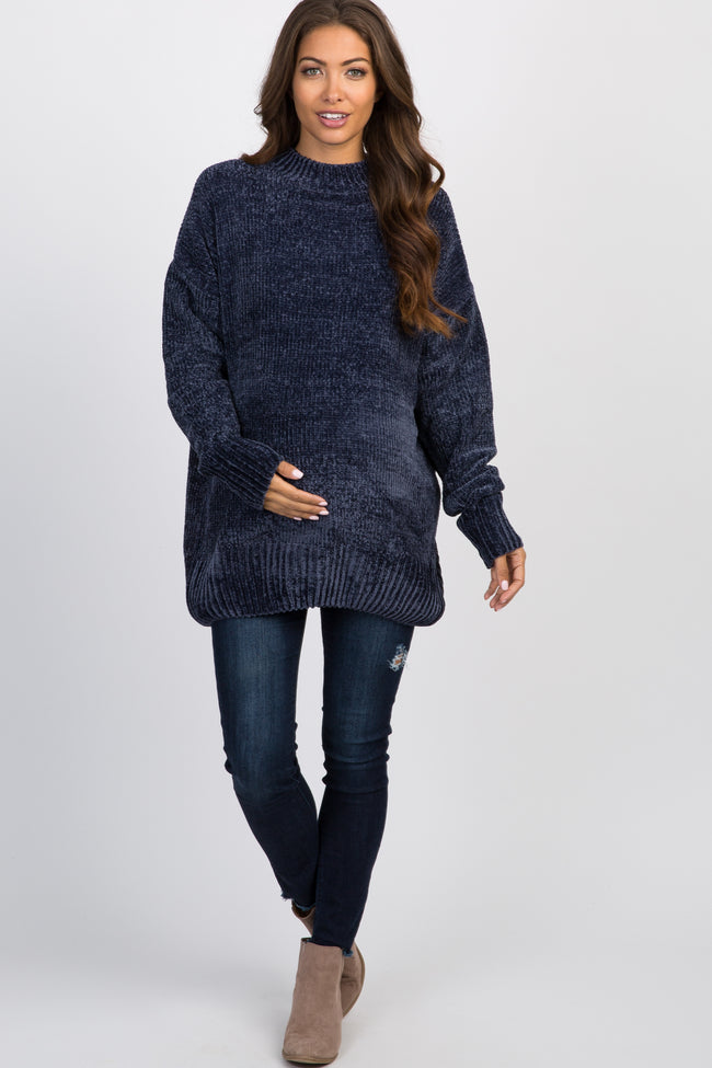 Navy Ribbed Chenille Knit Maternity Sweater